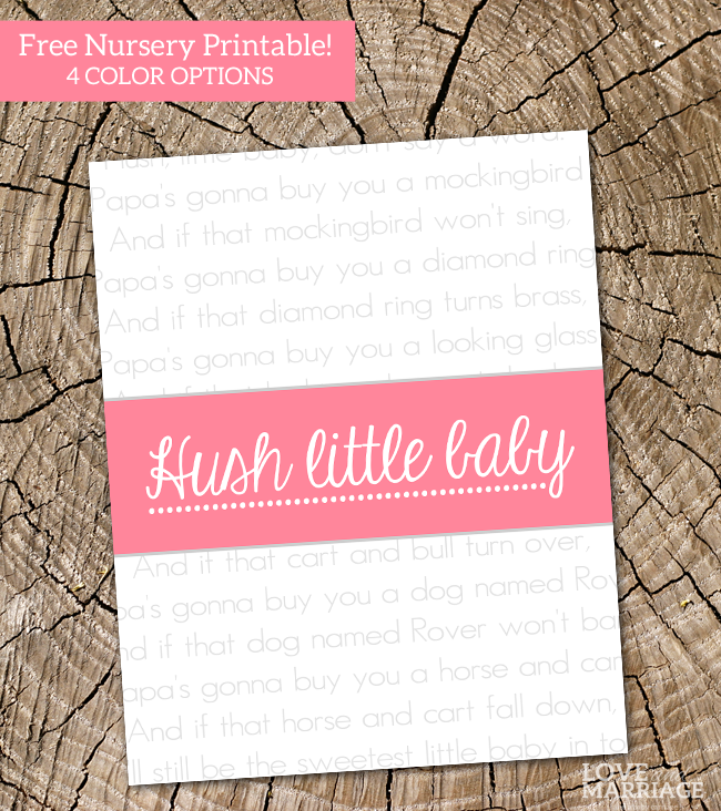Hush Little Baby - FREE nursery printable