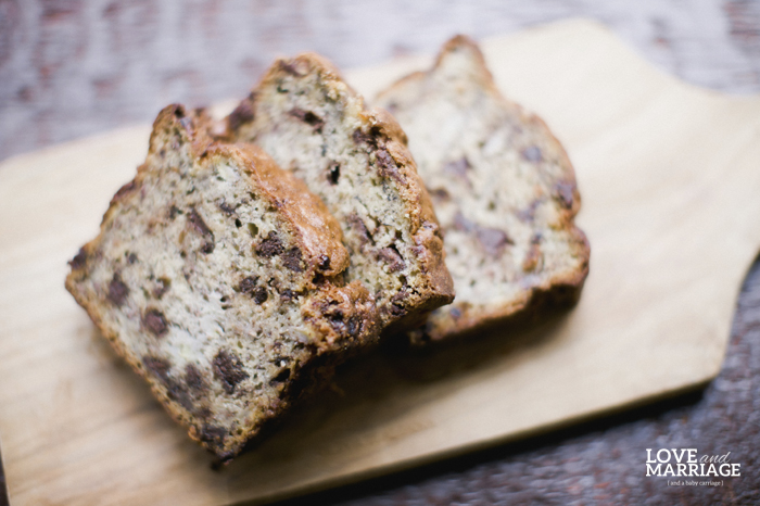 The BEST chocolate chip banana bread recipe.