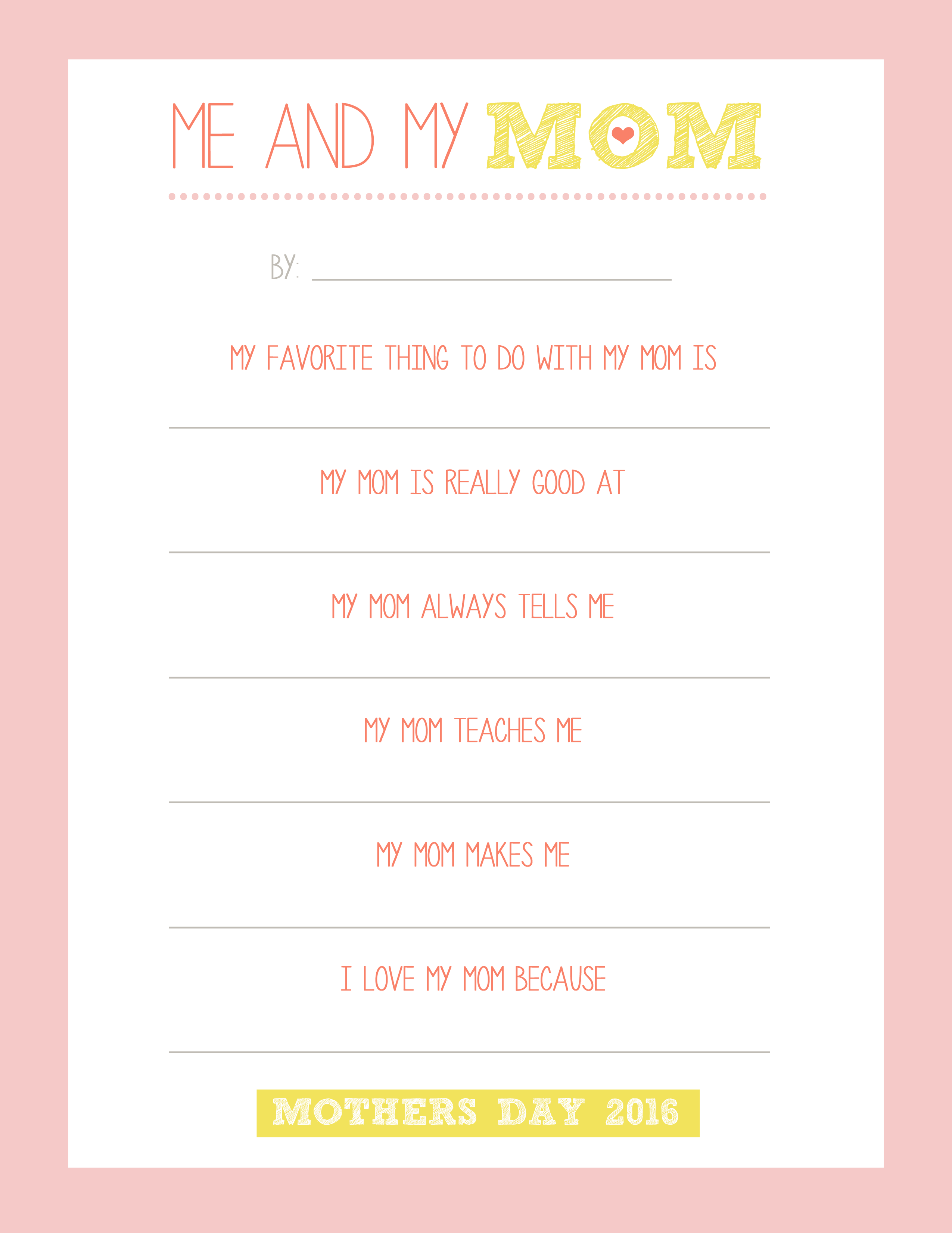 photograph relating to Mother's Day Printable identified as Moms Working day Cost-free Printable - Me and My Mother - Take pleasure in and Romance