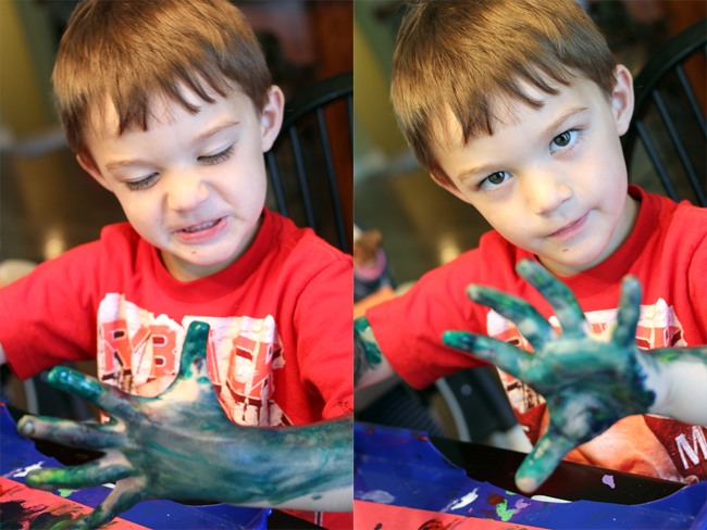 When you give a boy finger paint...