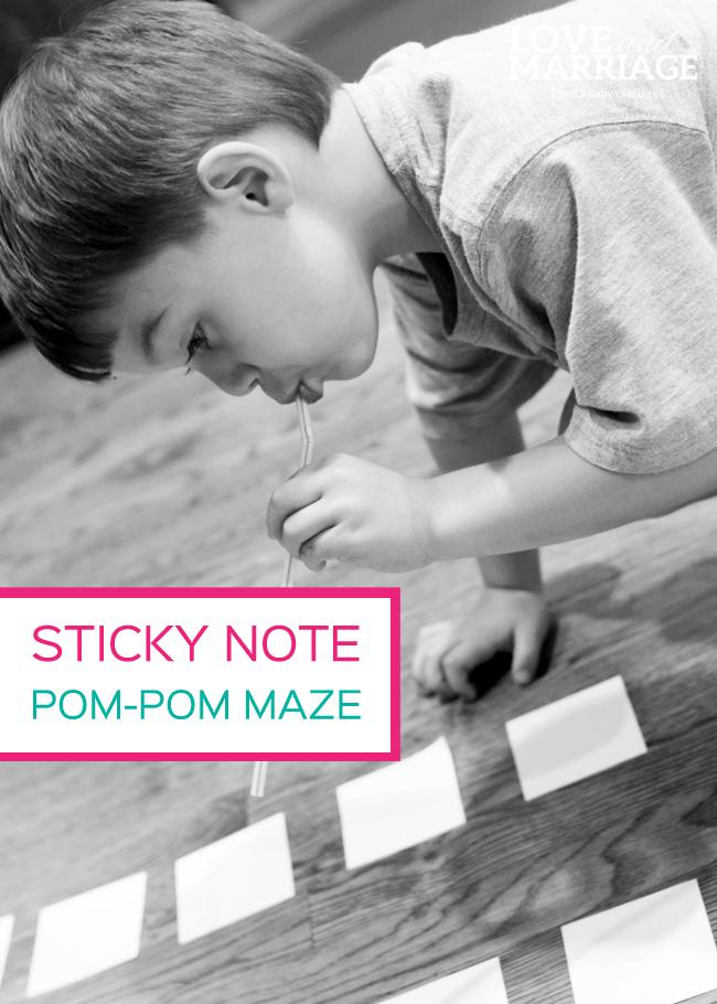 Sticky Note Pom Pom Maze Game