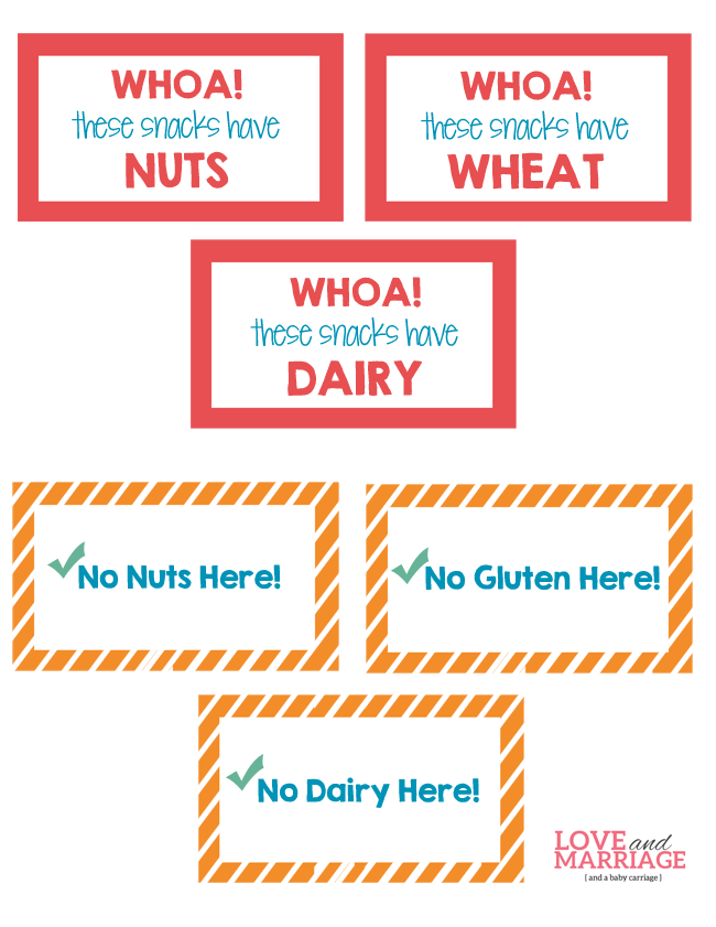 Allergy Labels for Kid Snacks