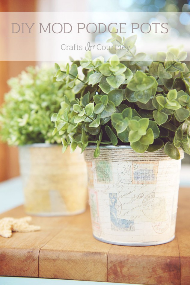 DIY Mod Podge and scrapbook paper pots