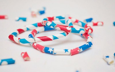 4th of July Paper Straw Bracelets