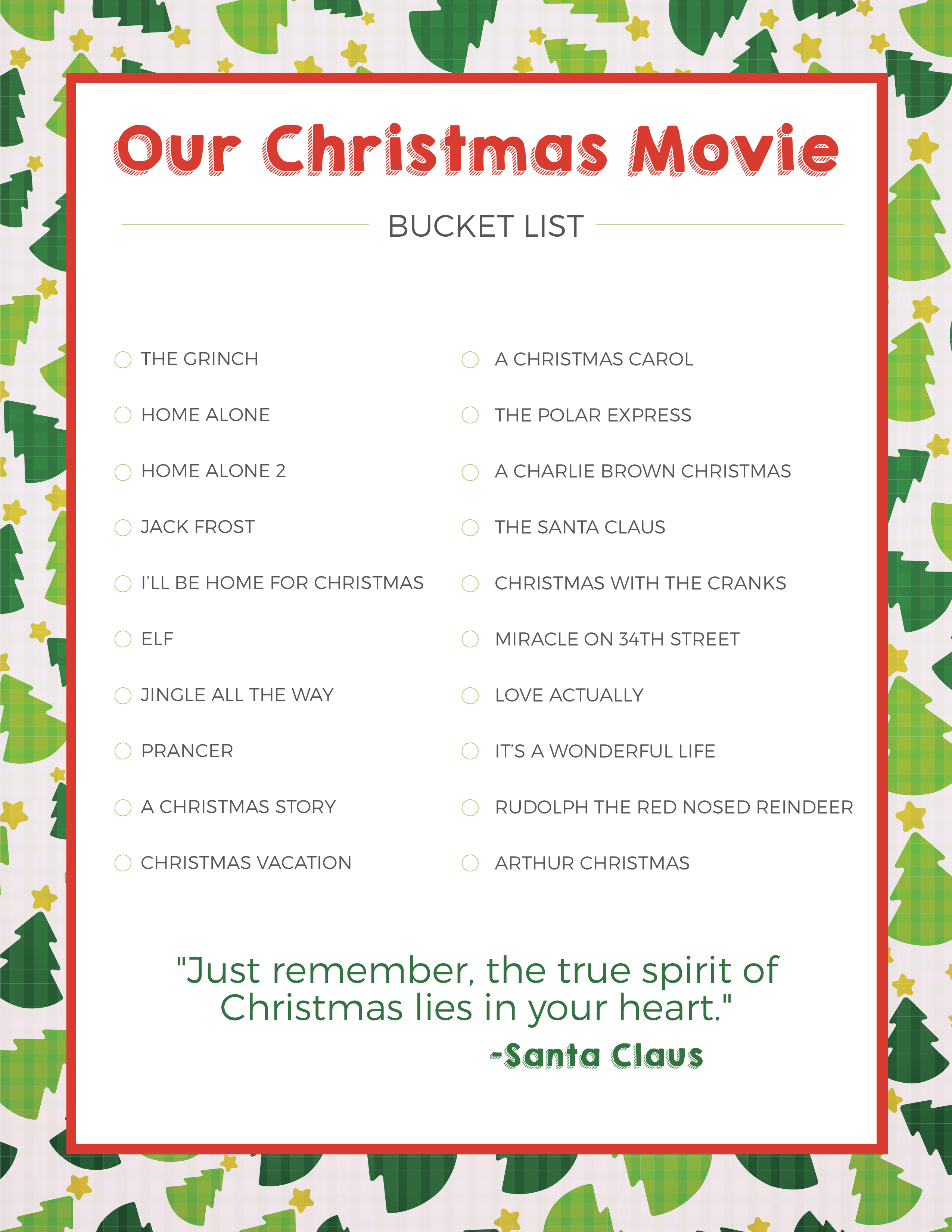 Christmas Movie Bucket List - Love and Marriage