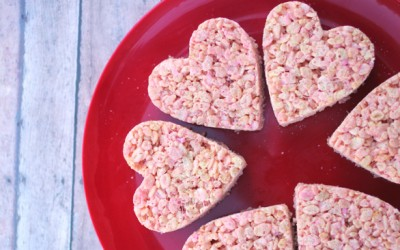Strawberry Valentine Rice Krispie Treats
