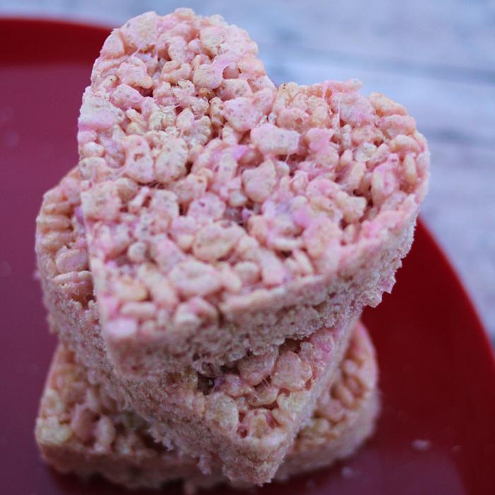 Strawberry Valentine Rice Krispie Treats