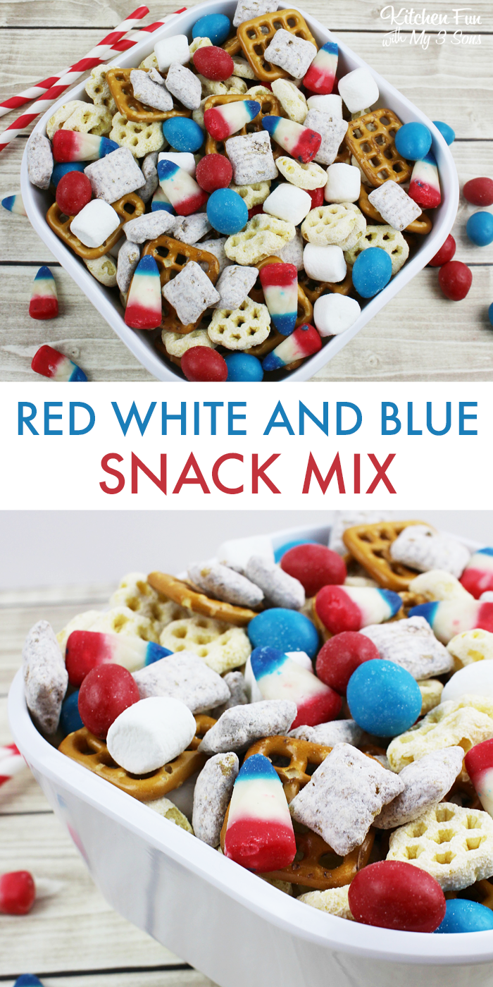 Easy Patriotic Snack Mix | The perfect easy snack for 4th of July, Memorial Day or Labor Day. Yummy red white and blue treat!