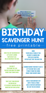 Birthday Scavenger Hunt Free Printable