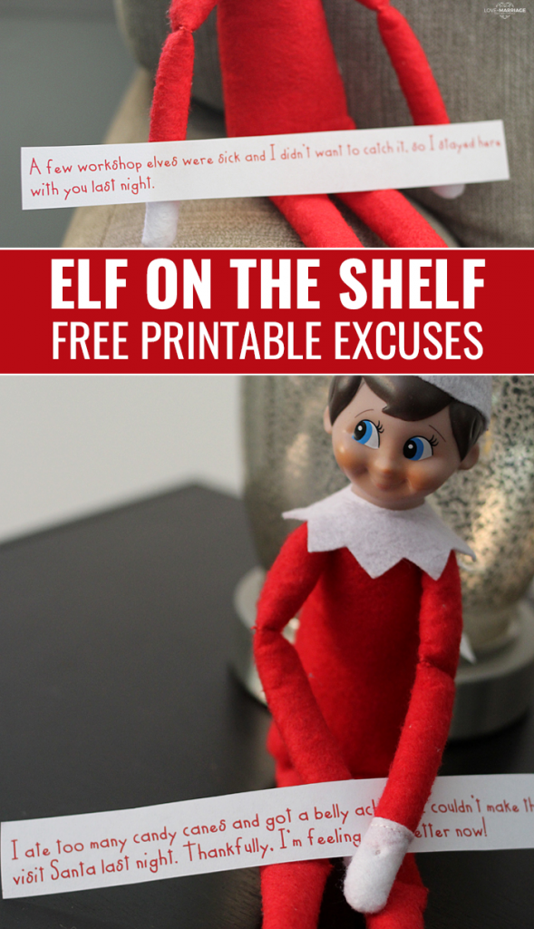 Printable Elf On The Shelf Excuses