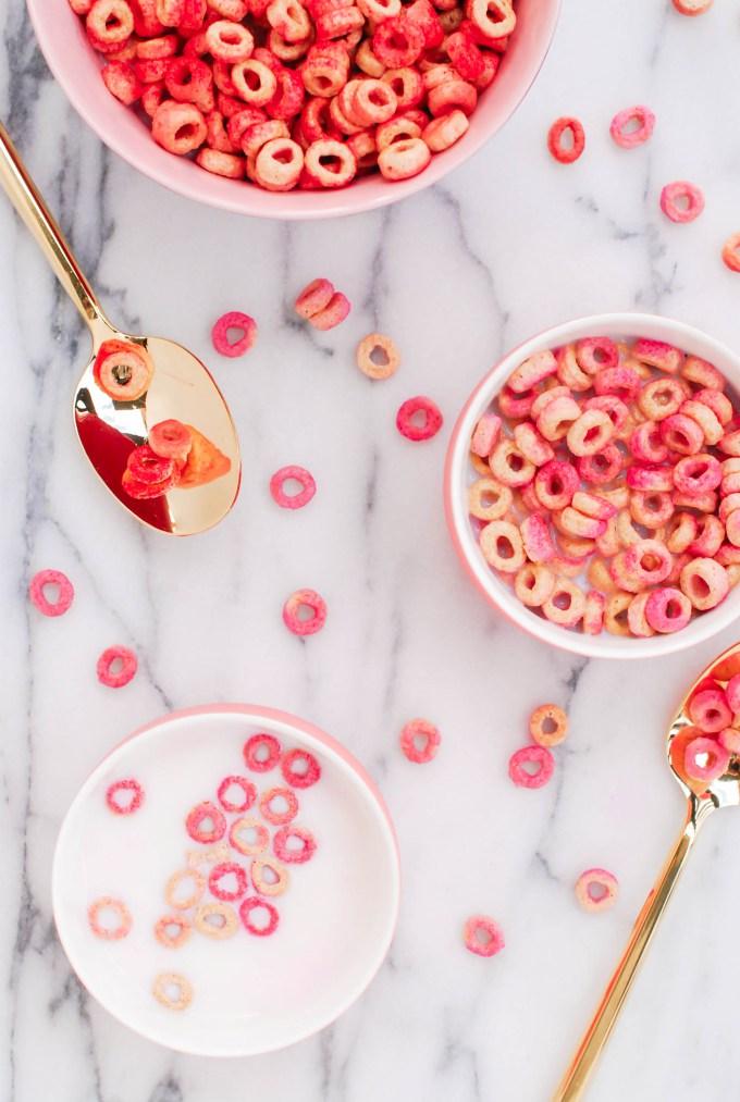 Pink Cheerios -  Valentine's Day Breakfast