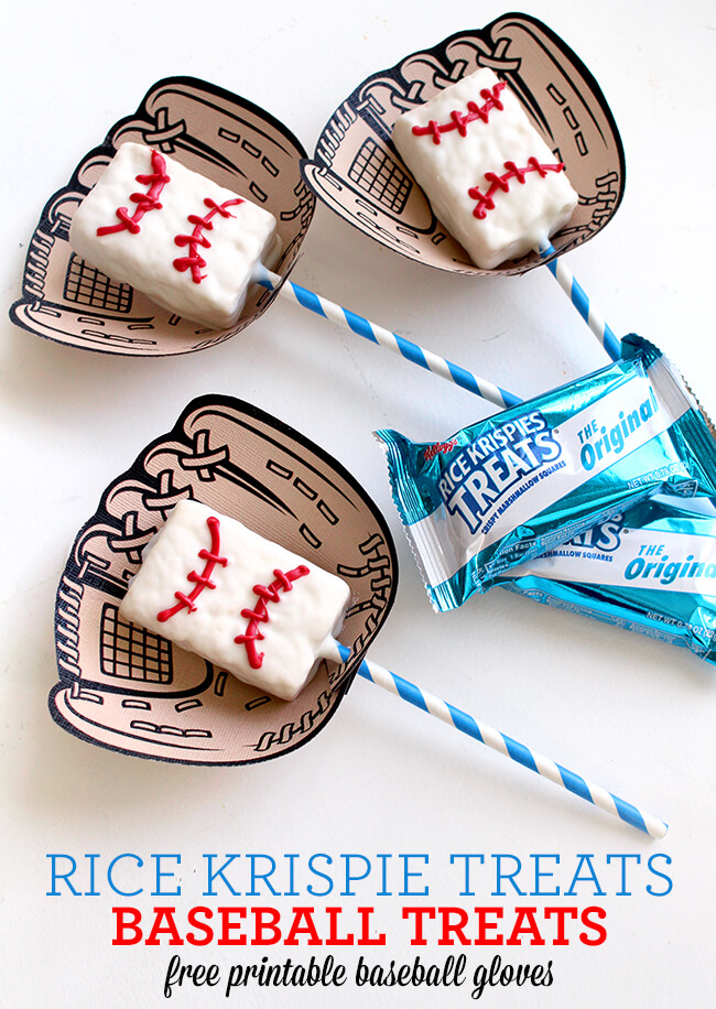 Baseball Rice Krispie Treat on a stick