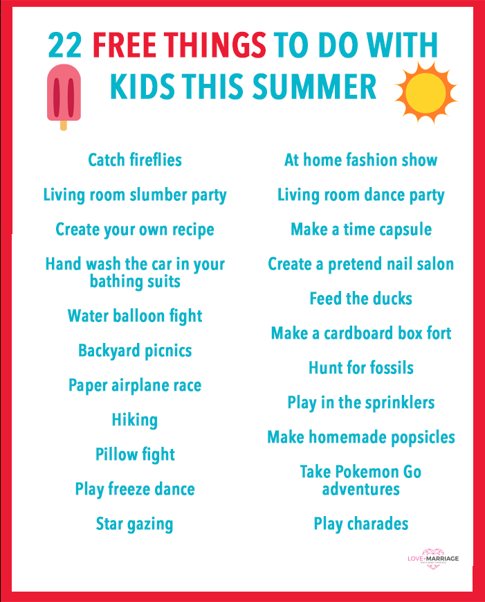 22 Free Things To Do With Kids This Summer Love And Marriage