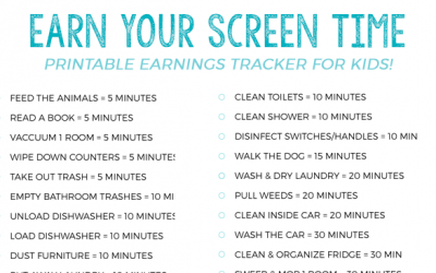 Earn Screen Time Summer Tracker for Kids
