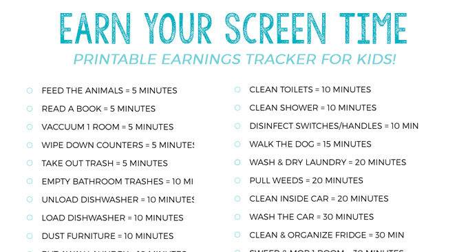 Earn Screen Time Summer Tracker for Kids