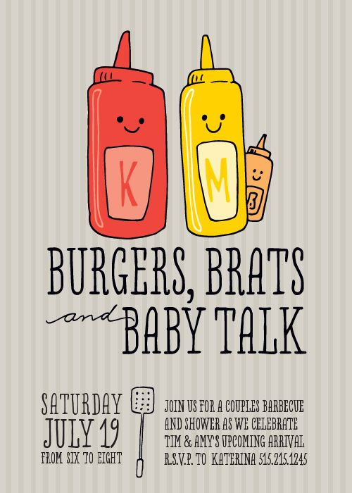 Totally non cheesy baby shower invites love and marriage burgers brats and baby talk filmwisefo