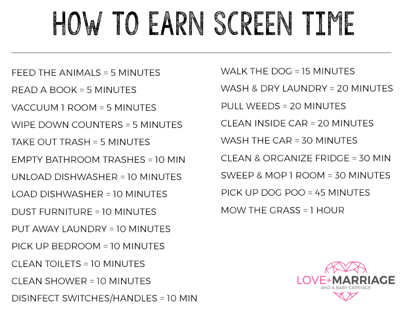 Earn Credit For Screen Time
