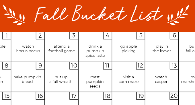 Fall Bucket List Calendar