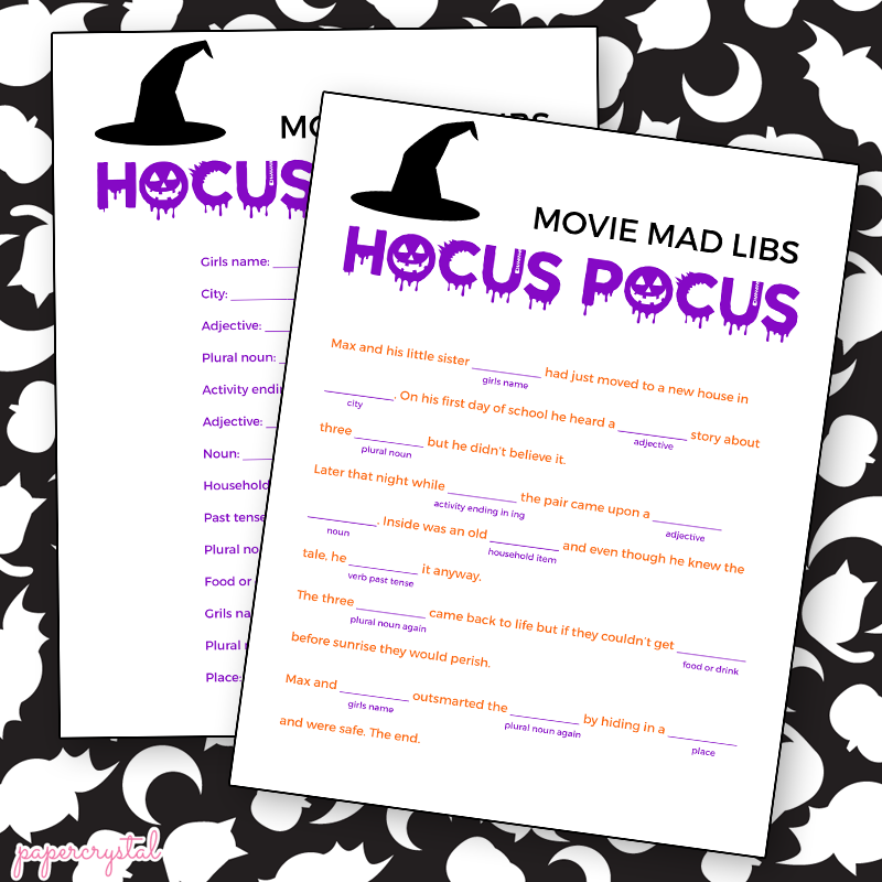 100 Halloween Mad Libs For 5th Graders Halloween  : HocusPocusmadlibs from stwoolf.com size 800 x 800 png 221kB