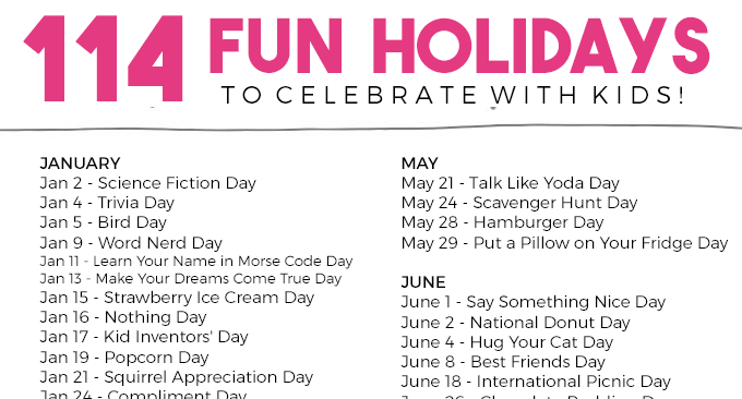 114 Funny Holidays To Celebrate With Your Kids