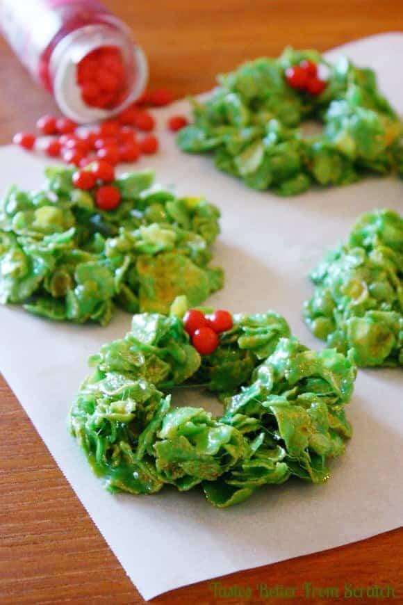 Christmas Cornflake Wreath Cookies - Best Easy Christmas Cookies