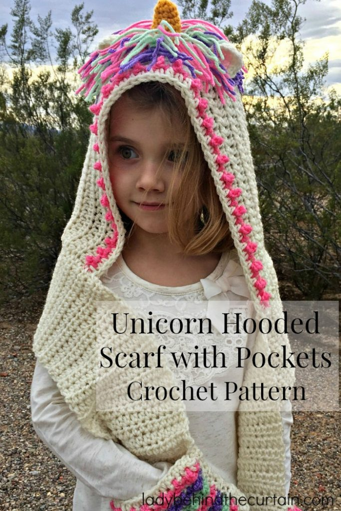 Unicorn Hooded Scarf with Pockets