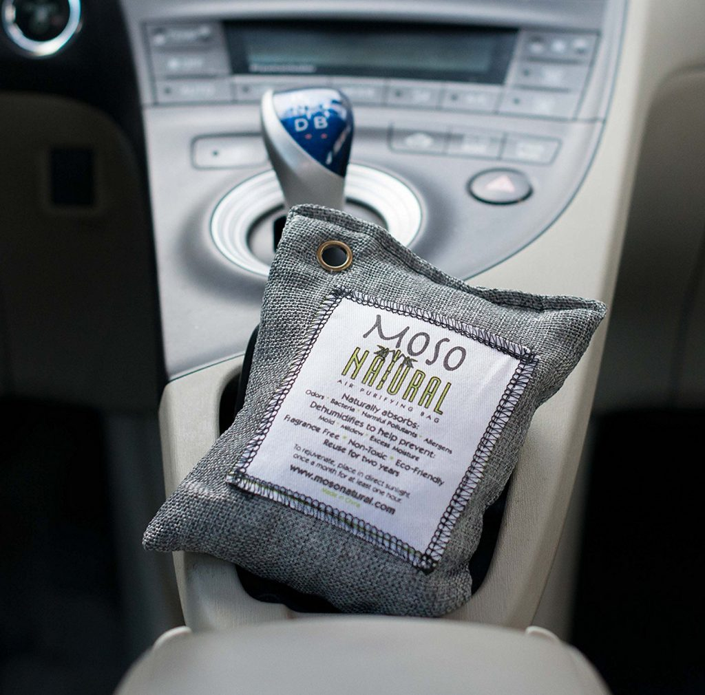 Moso Natural Air Purifying Bag. Odor Eliminator for Cars, Closets, Bathrooms and Pet Areas
