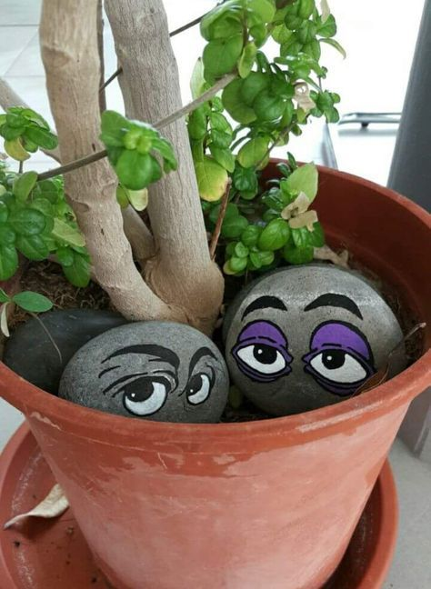 Peeking Eyes Rock Painting Idea