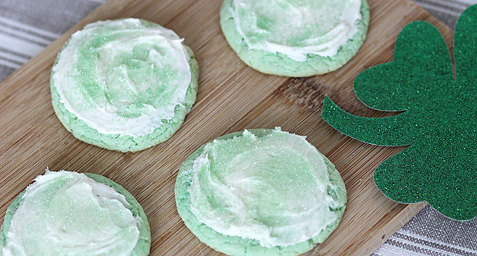 These St. Patrick's Day cake mix cookies are my favorite because they are so easy to make. You literally only need three ingredients! Celebrate the Irish holiday with an easy festive green treat.