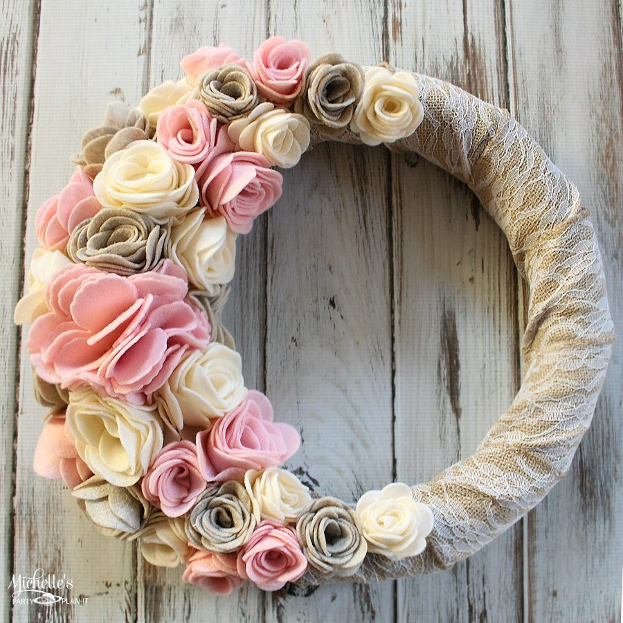 felt flower wreath diy