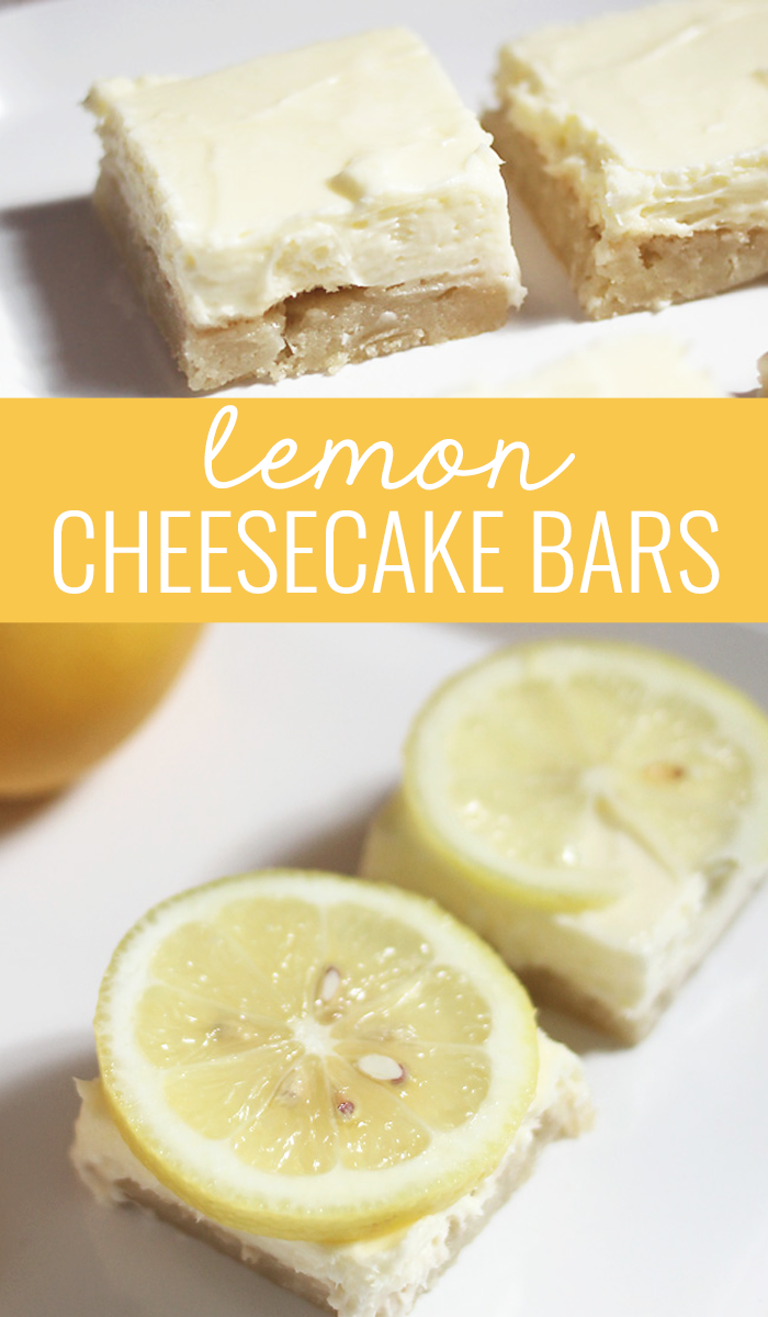 These lemon cheesecake bars only take four ingredients! With a sugar cookie crust it's sweet and tangy and everyone loves it.