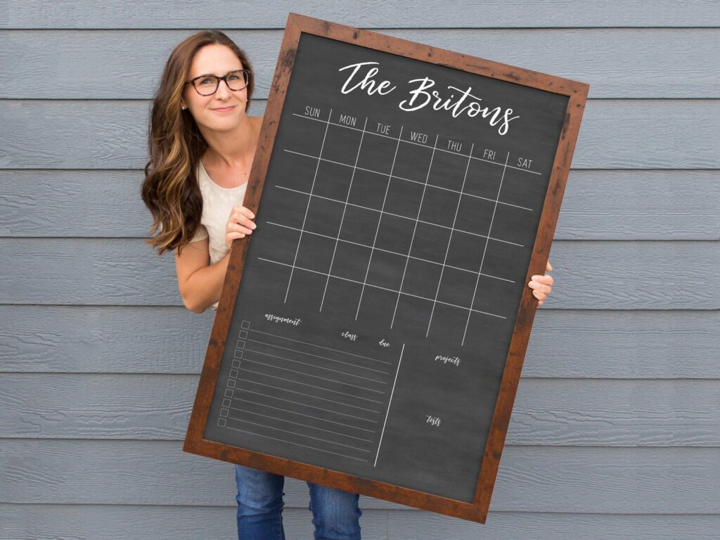 A wooden chalkboard family schedule to hang on the wall!