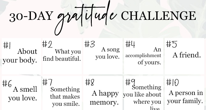 This 30-Day Gratitude Challenge is a super simple way to being a happier you.