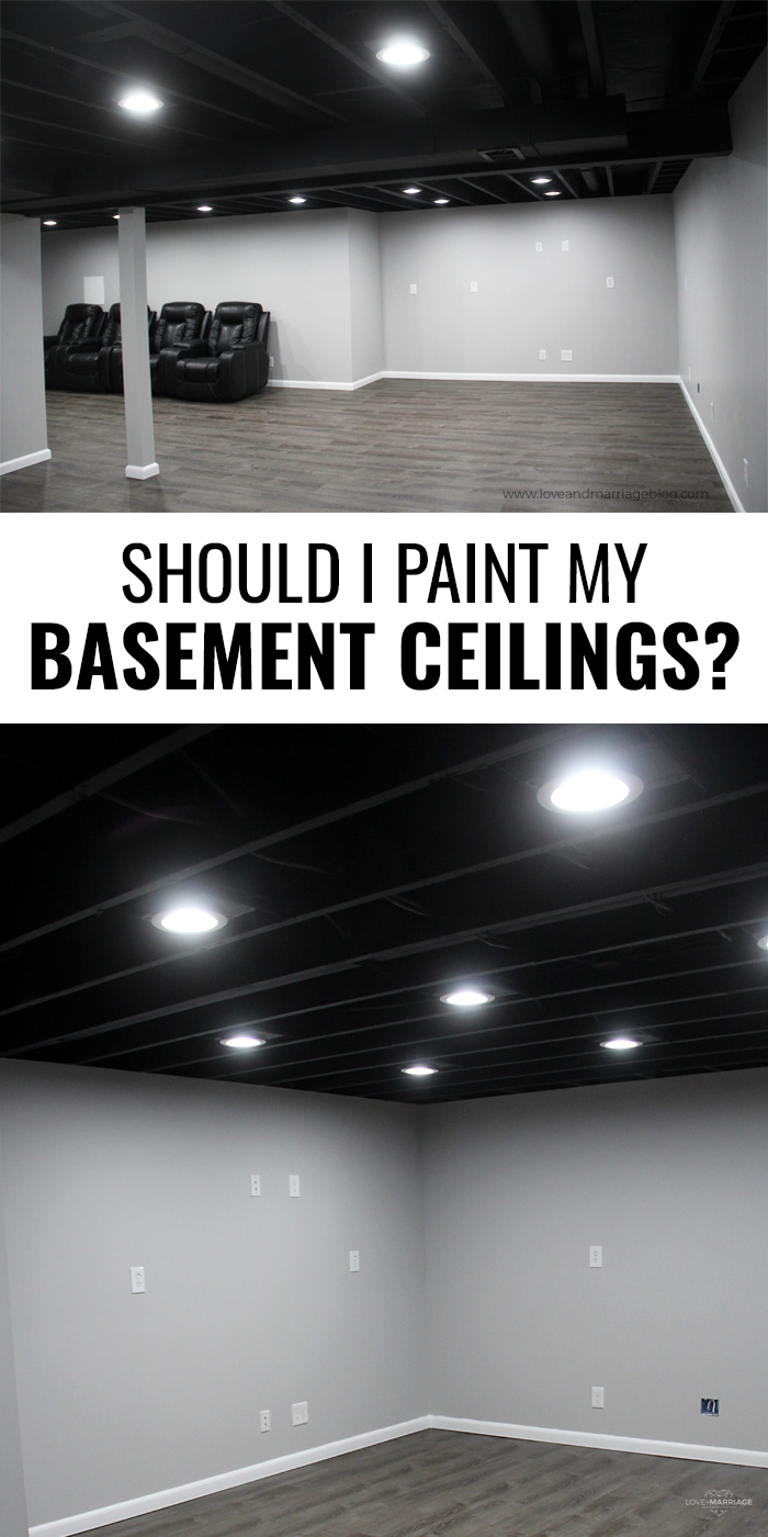 Here is our take on painting our basement ceiling and leaving the joists and imperfections exposed. If you're considering and open basement ceiling here are some photos for you to take a look at. | Basement remodel | Basement Ceiling Ideas | Home Renovation
