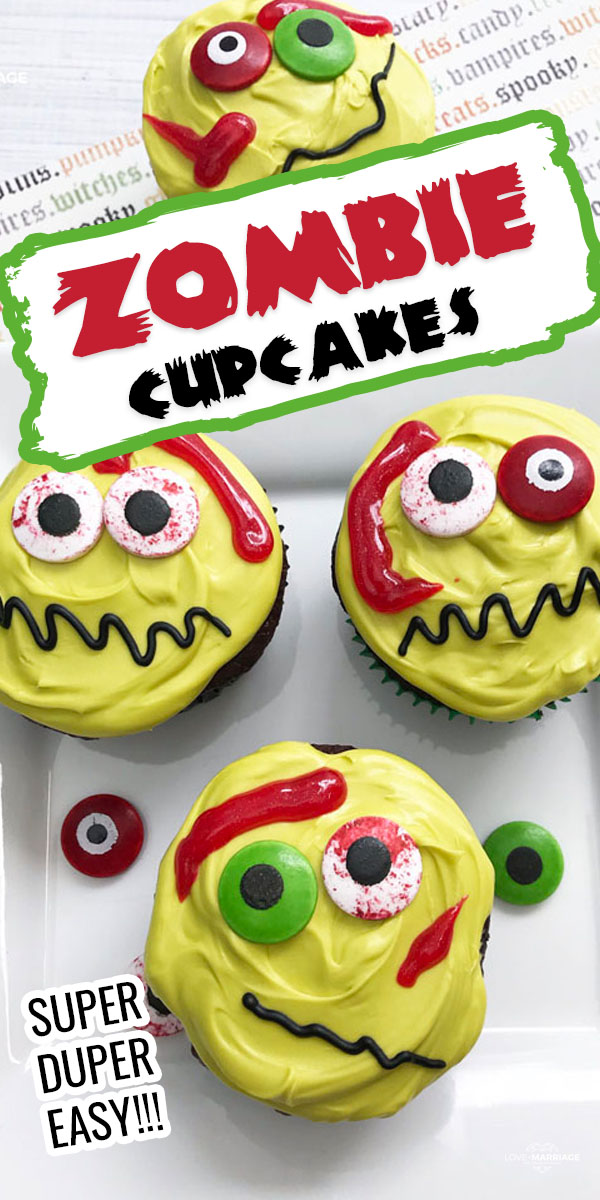 Zombie Cupcakes - super easy Halloween treat that all kids love!