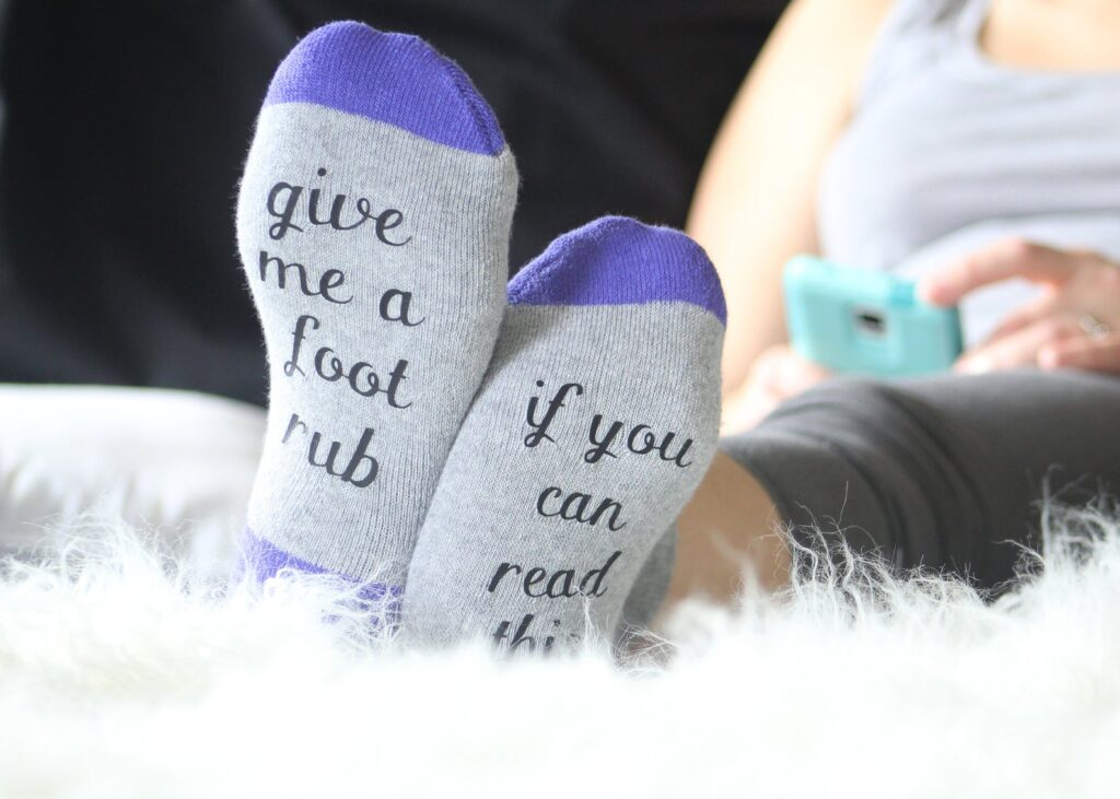 If you can read this, give me a foot rub socks