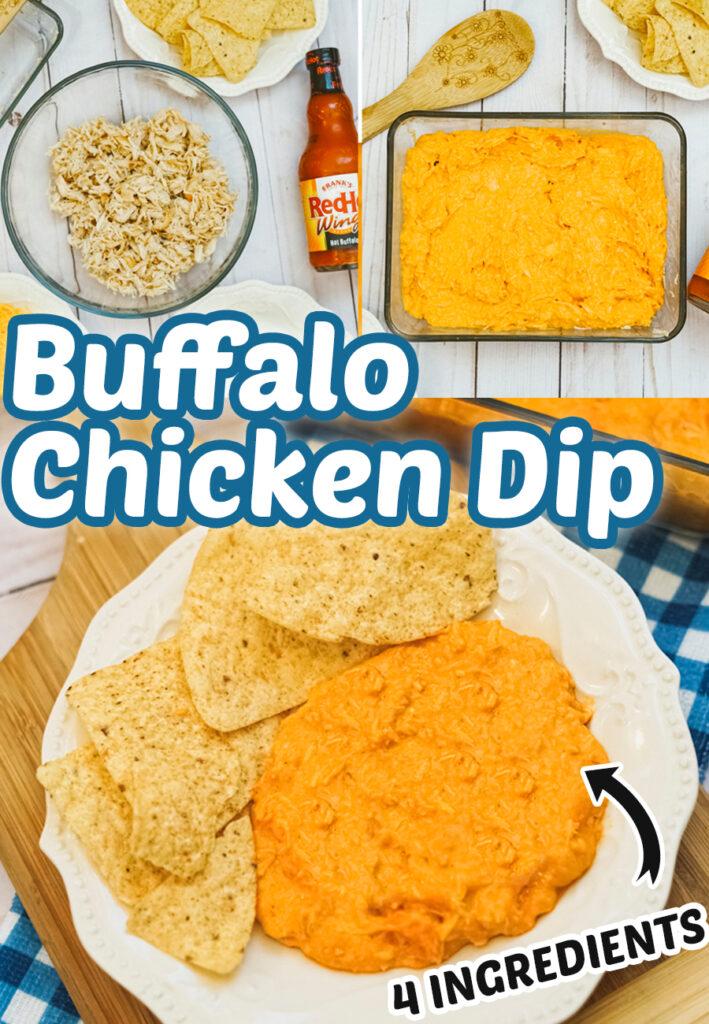 Buffalo Chicken Dip - Easy, 4 ingredient dip recipe.