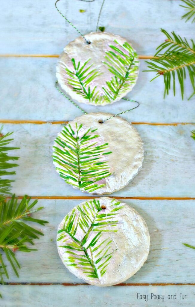 Pine Stamped Ornament - Best DIY Salt Dough Ornaments
