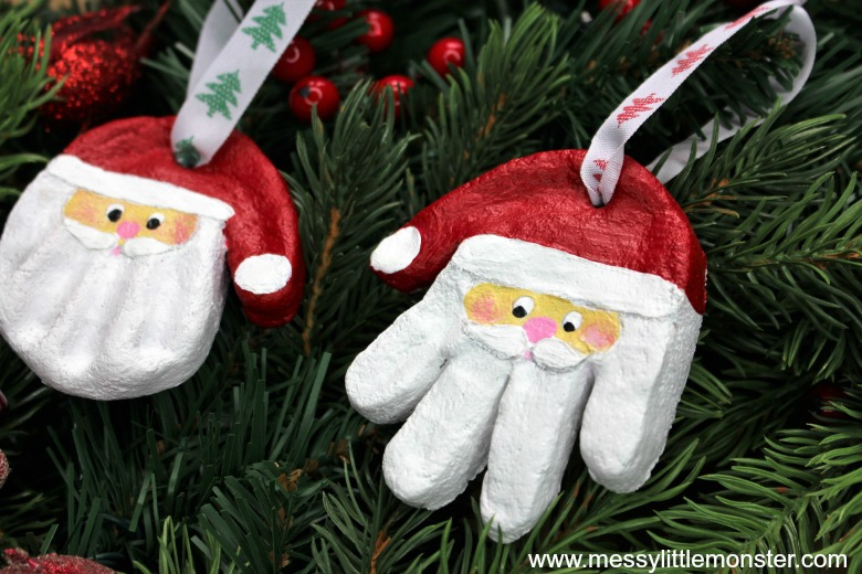 Santa Hand print - Best DIY Salt Dough Ornaments