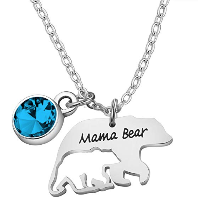 Mama Bear necklace with December birthstone turquoise