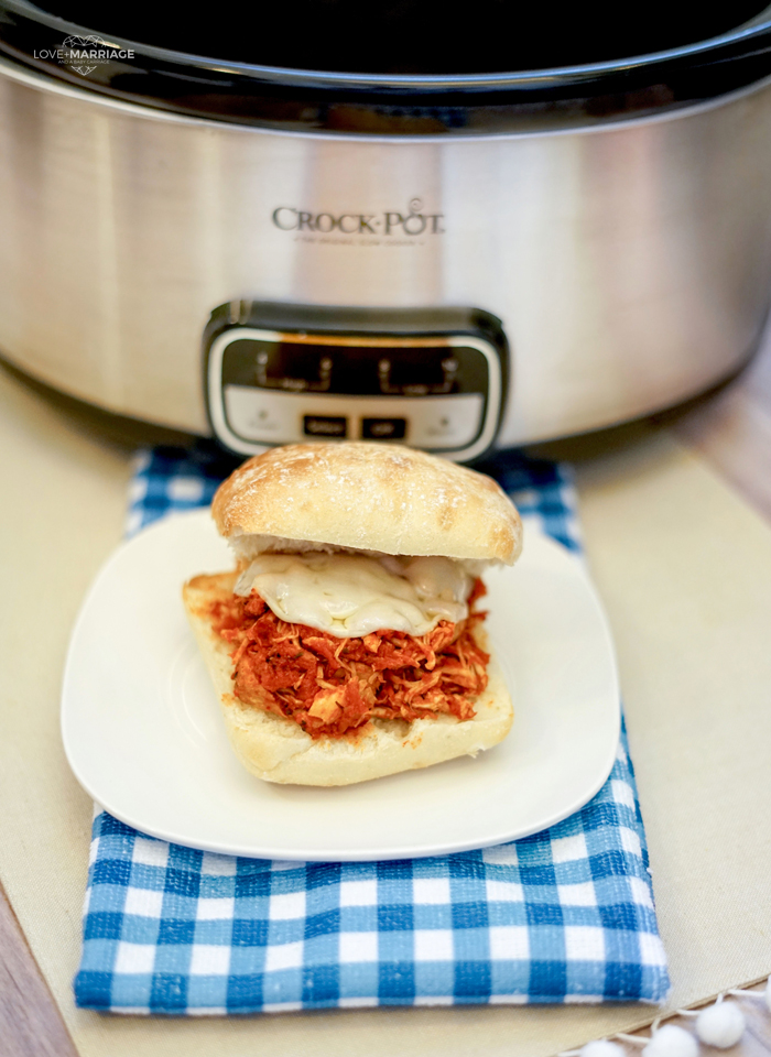 Chicken Parmesan Sandwich in the Crock Pot is super easy and tastes really great. All you need is your Slow Cooker and just four ingredients.