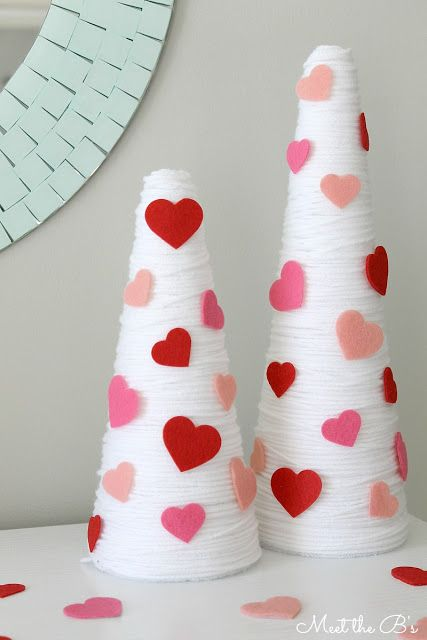 Yarn Wrap Trees Valentine's Day DIY - Valentines Day Decorations