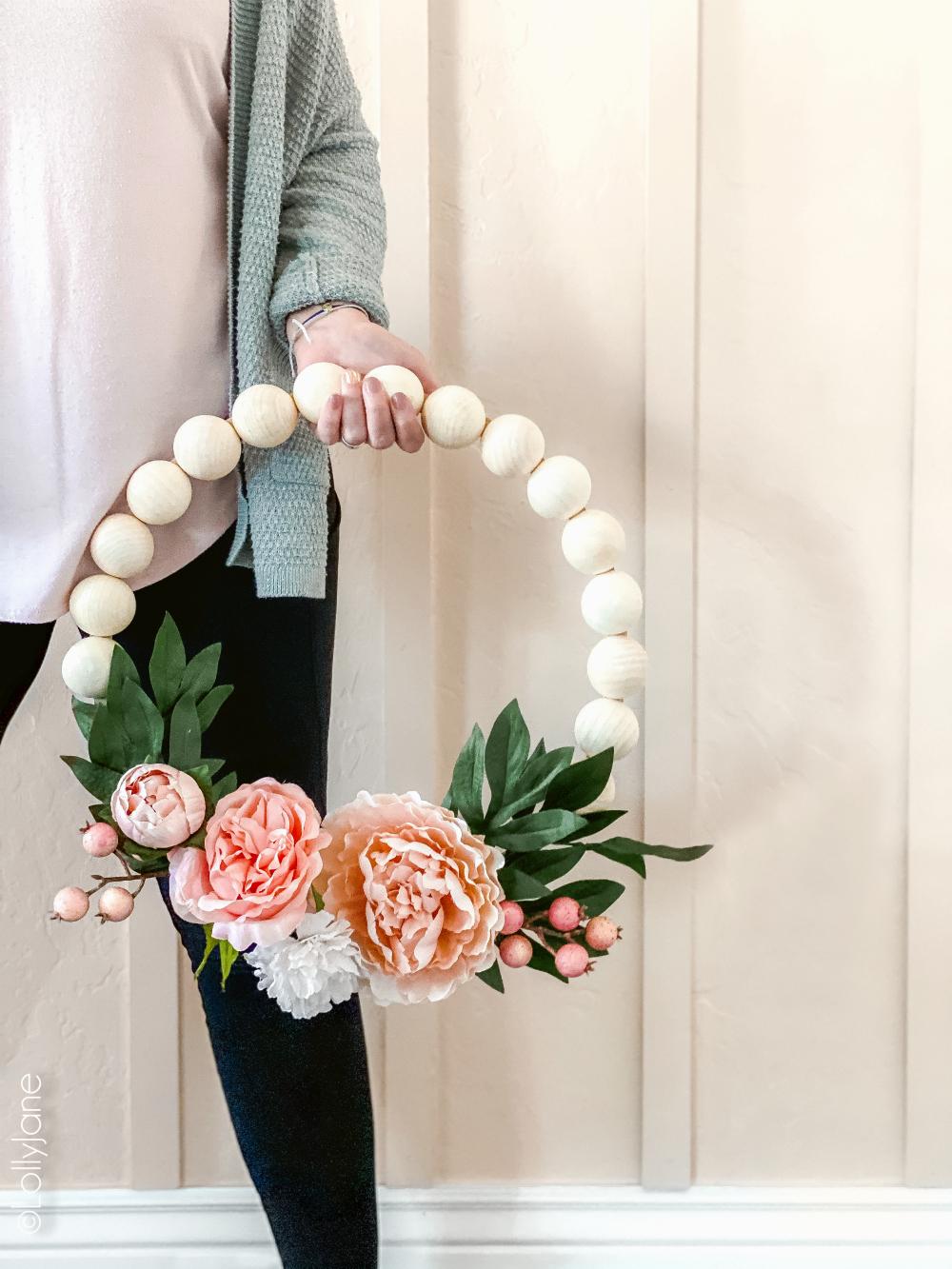 DIY Wooden Bead Floral Wreath
