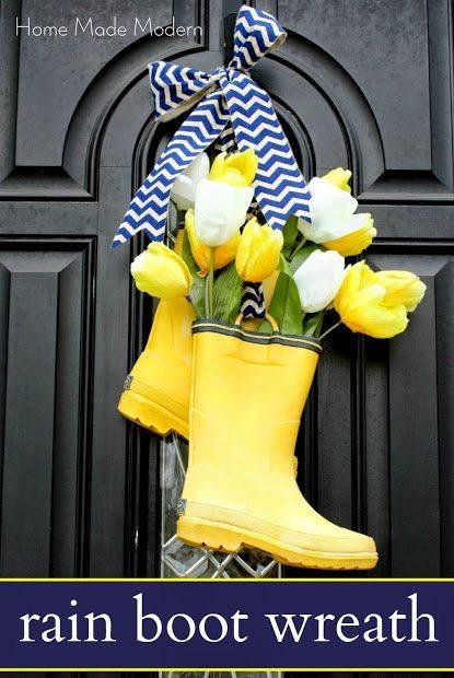 DIY rain boot wreath