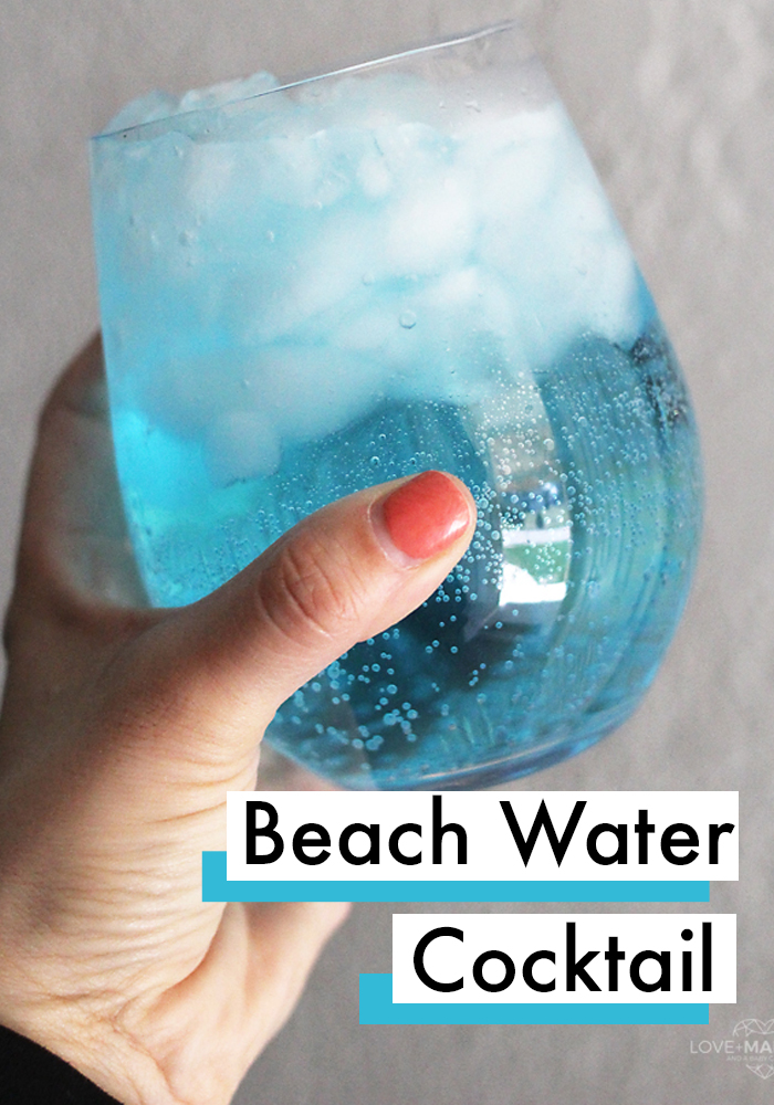 This 3-ingredient beach water cocktail is my favorite drink. One of the best cocktail recipes! #Drinks #Recipes