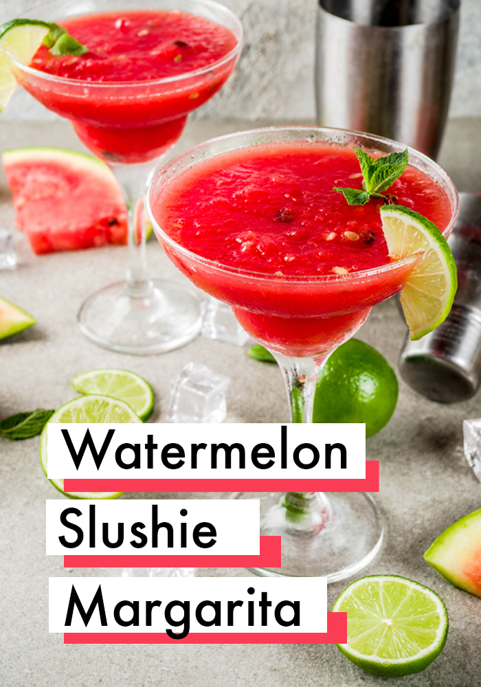 Watermelon Margarita Slushie Recipe - such a refreshing summer cocktail we love! #Margarita #Drinks #Recipes