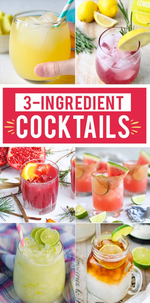 All the best cocktail recipes with only 3 ingredients! I love how simple these drinks are! #Recipes #Cocktails #Drinks