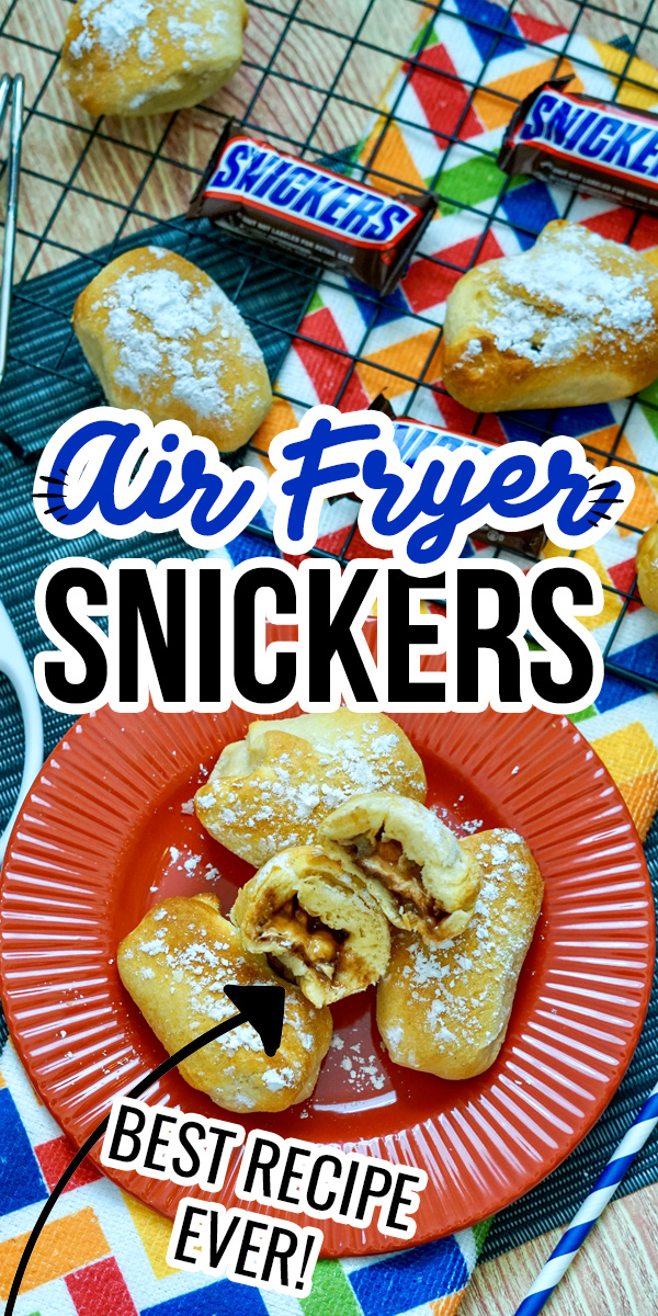 Air Fryer Snickers coated in powdered sugar are melt-in-your-mouth amazing. I'm obsessed with the caramel and chocolate oozing out of the doughy bun.