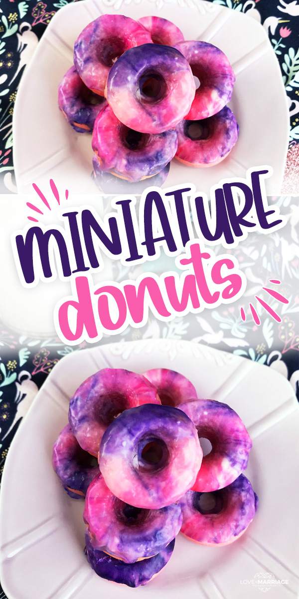 Miniature Galaxy Donuts with pink and purple swirl.