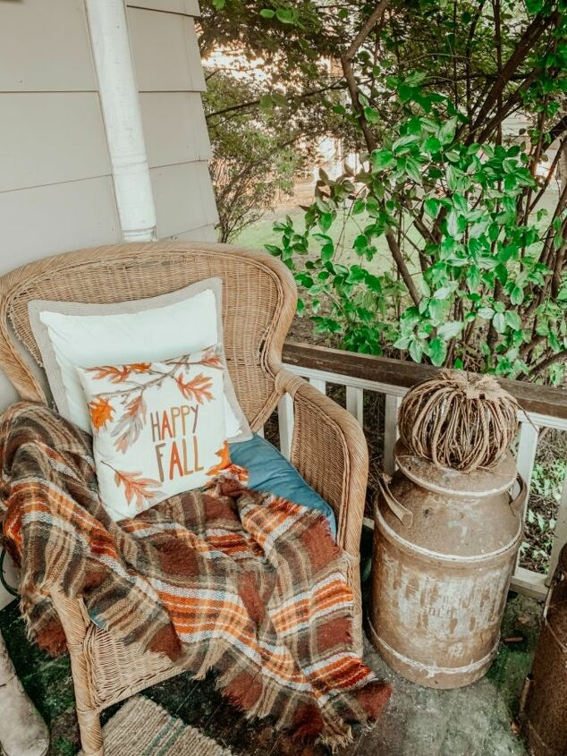 fall front porch reading nook